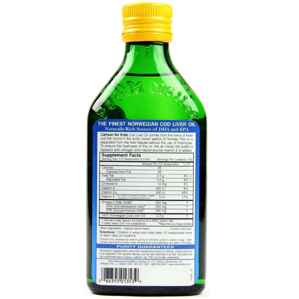 Carlson Labs Cod Liver Oil supplement facts